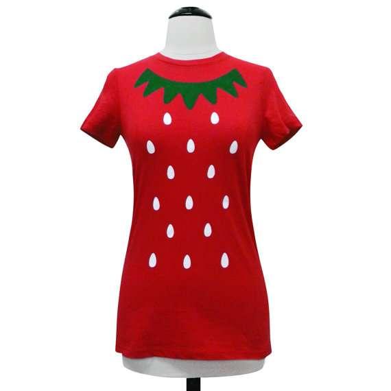 Erdbeere Kostüm selber machen - Etsy Shirt