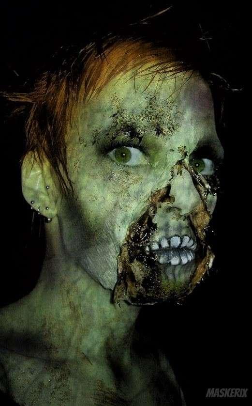 maskerix Zombie Kostüm Make Up selber machen grün